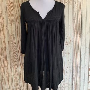 DELETTA BLACK VISCOSE TUNIC WITH TRIM SZ XS